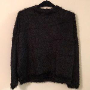 NWT Mango large black fuzzy sweater